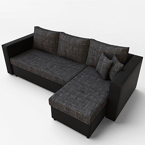 OSKAR Ecksofa mit Schlaffunktion Grau Schwarz – Stellmaß: 224 x 144 cm Liegemaß: 200 x 140 cm – Sofa Couch Schlafcouch Schlafsofa Eckcouch