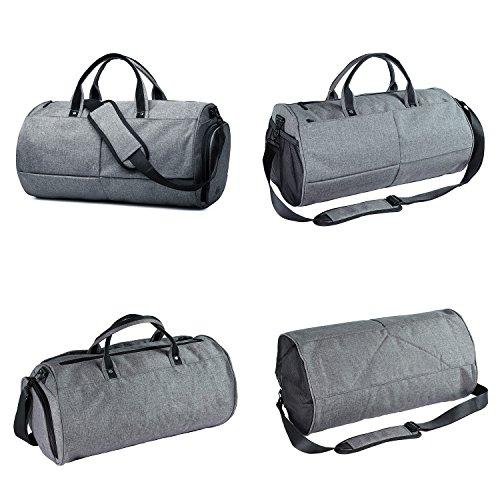 IOKHEIRA 20L Stilvolle Sporttasche Reportersche mit Schuhfach und Trinkflaschen-Halter Hochwertige Canvas Weekender Tasche für Damen und Herren Grau
