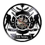 BBNNN Orologio da Hockey su Ghiaccio Disco in Vinile Orologio da Parete Giocatori di Hockey Orologio Decorativo Moderno Silenzioso Orologio Amanti degli Hockey Regalo in Camera Decor Studio Sign