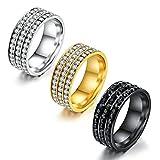 AnazoZ Damen Ringe Edelstahl 3 Reihe Zirkonia Weiß Silber Ringe Ringgröße 54 (17.2) Modeschmuck