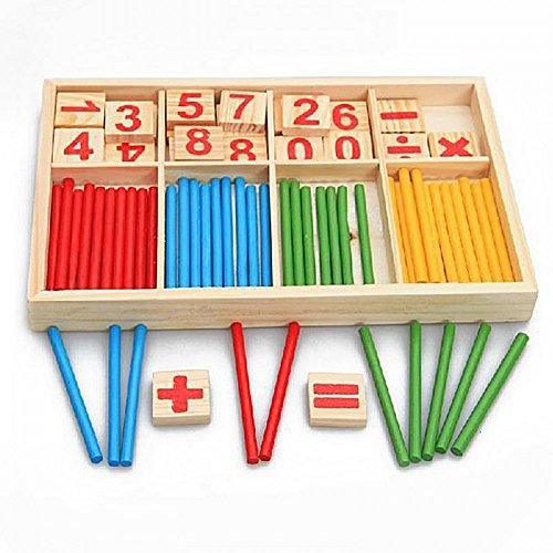Baby Toy Wooden Blocks Montessori Educational Toys Mathematical Intelligence Stick Building Blocks gift-Wooden Number Cards and Counting Rods with Box