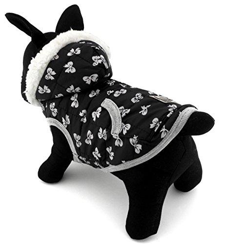 zunea Haustier Kleidung Apparel für kleine Hunde Katzen Fleece Gefütterte Winter Weste Coat Jacke Kapuzen Jacke Hooded Kostüm Kleidung schwarz