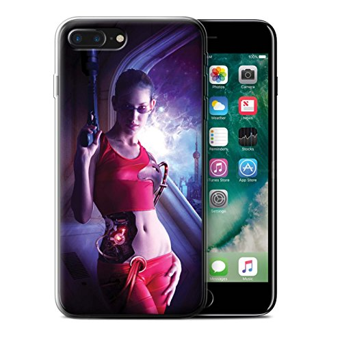 Officiel Elena Dudina Coque / Etui Gel TPU pour Apple iPhone 7 Plus / Coeur Noir Design / Super Héroïne Collection Cyborg