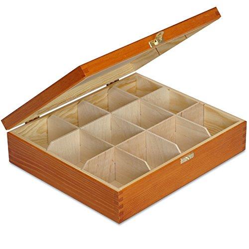 Creative Deco Teebox Adler Holz 12 Fächer mit Deckel | 29 x 25 x 7,5 cm | Tee Box Teekiste Holzkiste Natürliches Kiefernholz | Perfekt für Decoupage, Lagerung und Dekoration