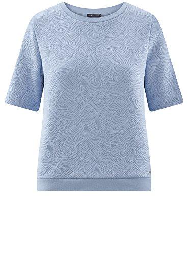 oodji Collection Damen Sweatshirt aus Strukturiertem Stoff mit Kurzen Ärmeln Blau (7000N)