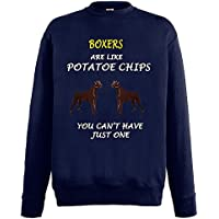 Dogs are like Chips Collezione 1, Fruit of the Loom Blu Notte Mens Sweatshirt Uomo (Mens Chip & Pepper)
