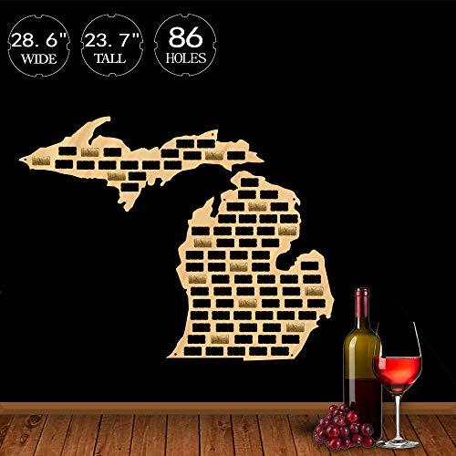 Die Great Lakes State of Michigan Weinkorken Karte hängen Holz Handwerk Karte Wand Kunst Home Bar Dekor trinken Weinkorken Trap Kleiderbügel (Karten Von Michigan)