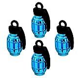 ocamo 4pcs universal Reifen Ventil-Rad Reifen Ventilkappen Aluminium Grenade, Form Fahrrad Reifen-Ventil für Auto LKW Motocycle, blau