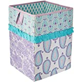 Bacati Asia Isabella Paisley Aqua/Lilac/Purple Collapsible Hamper (Multicolor)