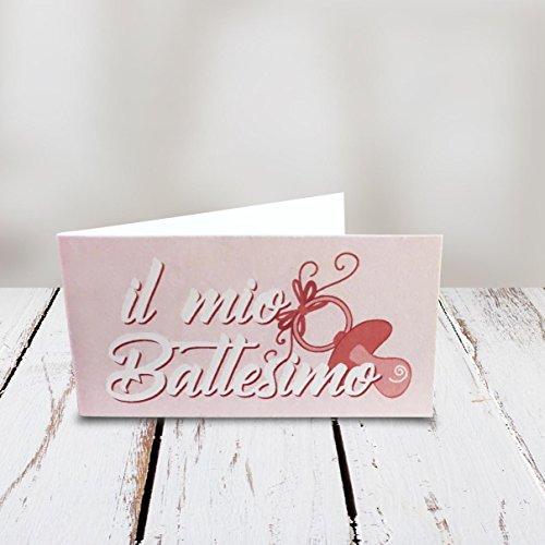 Kamiustore bigliettini battesimo bimbo/bimba neutri con disegno ciuccio - set da 20-50-100 pezzi (rosa, set 100 bigliettini)