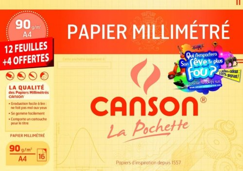CANSON Pochette Canson Millimétré Bistre 90g/m² 12+4 feuilles A4