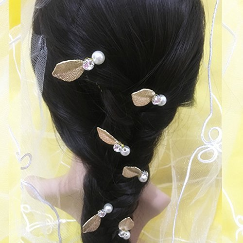 Phenovo 6 PCS Bridal Hair Pin Leaf Rhinestone Faux Pearl Handmade Headdress Jewelry