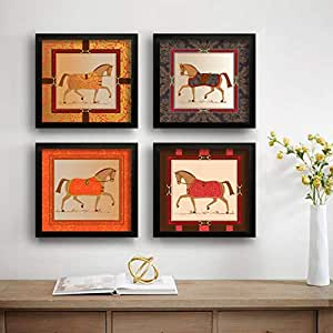 SAF Running Horses Set of 4 UV Textured Painting (19 x 19 Inches, SAF_SET4_13)