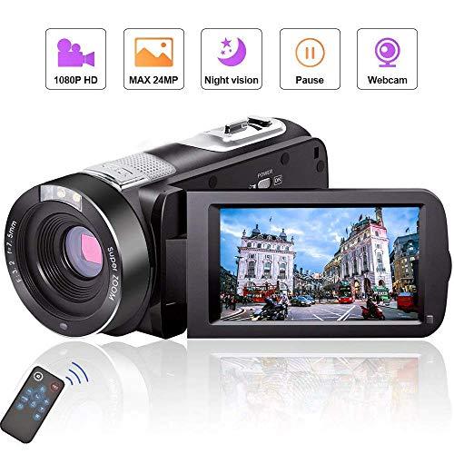 Videokamera Camcorder Full HD 1080P 24.0MP Vlogging Kamera Nachtsicht Pause Funktion mit Fernbedienung