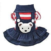 Ropa de Perros,Cool Vintage Washed Denim Vestido Mono Azul -Jean Ropa para Pequeñas Mascotas
