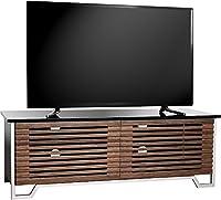 "MDA Designs Gloss Black & Real Wood Veneer Walnut Veneer with Contempo Satin Chrome Legs Luxury 32""-55"" Flat Screen TV Cabinet"