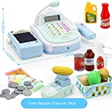 47pcs enfants caisse enregistreuse faire semblant de jouer dans un supermarché jusqu'à des jouets avec calculatrice, scanner de travail, carte de crédit, aliments pour jouer, argent, balance électroni...