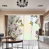 RLF LF Hauptdekoration-Vorhang-Fenster 3D Digitaldruck Blumen Pflanze Wärmeisolierte Tülle Blackout Vorhänge Durch RLF.LF,Beige,200Cm*250Cm