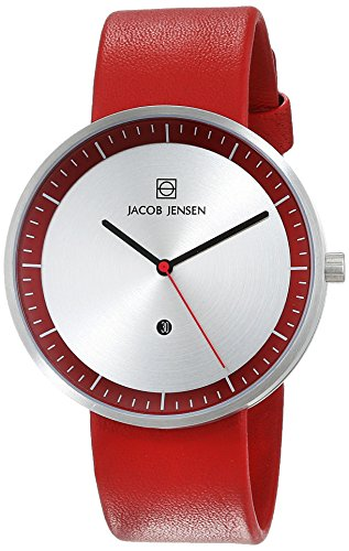Jacob Jensen Unisex Analogue Quartz Leather Strap Strata Mens Red Watch 273