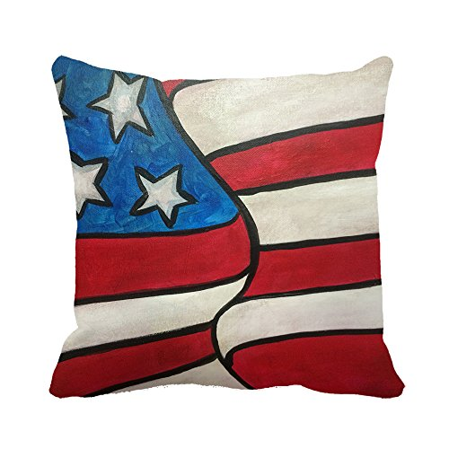 okoukiu lona de algodón Vintage pintura al óleo parte de la bandera americana Funda de almohada cuadrado manta decorativa Funda de almohada Funda de almohada 20