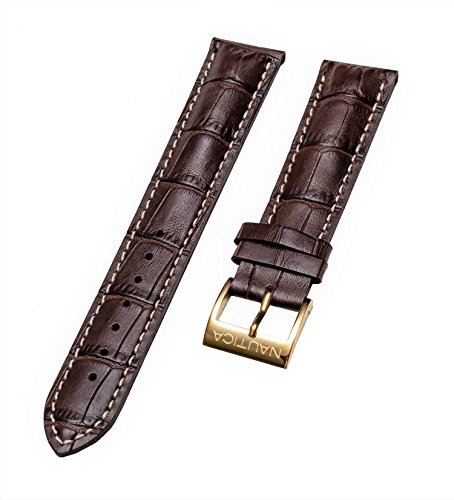"Nautica Men's N11502G""Windseeker 20mm Brown Original Replacement Leather Watch Band/Strap"