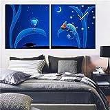 NAUY-Modern Style Canvas Painting Reloj de Pared de Extraterrestres en Lona 2pcs