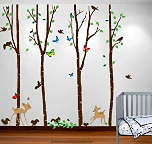 Innovative Stencils 1221 84 Birch Tree Forest Set with Deer, Flying Birds, Bambi and Squirrels Baby Giant Wall Sticker Decal, 7-Feet by Innovative Stencils