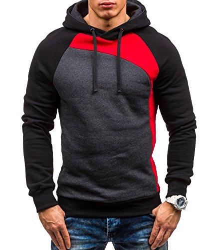 BOLF – Felpa con cappuccio – Pullover – Sweat-shirt – STX JACK – Uomo Rosso