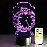 BZJBOY Tischleuchte Clock Desk Lamp 3d 7 Farben ändern Noten-Schalter Fernbedienung Tabelle LED-Licht-Nachtbeleuchtung Hauptdekoration Haushaltszubehör