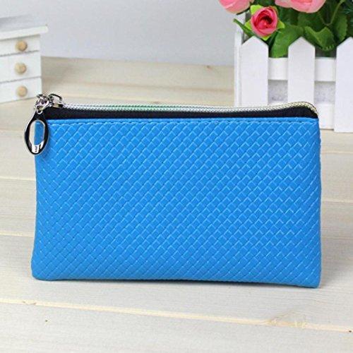Hunpta Frauen Mode Leder Brieftasche Reißverschluss Clutch Geldbörse Lady Long Handtasche Tasche Navy