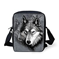 HUGS IDEA Wolf Printed Boys Crossbody Bags Animal Handbag Small Messenger Bag