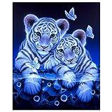 3D-Perlen-Malset, Kunst mit Ziersteinen zum Selbermachen, 3D-Stickerei, Basteln für Zuhause, Wand-Dekoration, 9.84''X11.81'' Couple Tiger