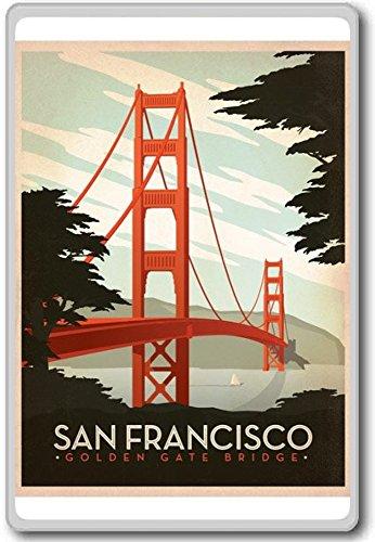 San Francisco Golden Gate Bridge, USA Vintage Travel Fridge Magnet - Kühlschrankmagnet -