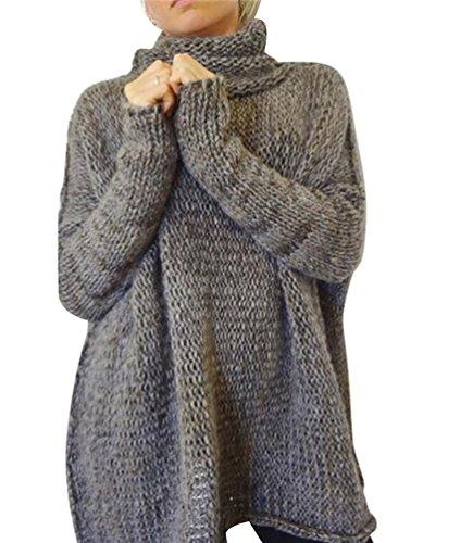 YOUJIA Donna Casual Caldo Manica Lunga Collo Alto lungo Maglione Maliga Maglioni con Pollice Foro (Grigio, S)