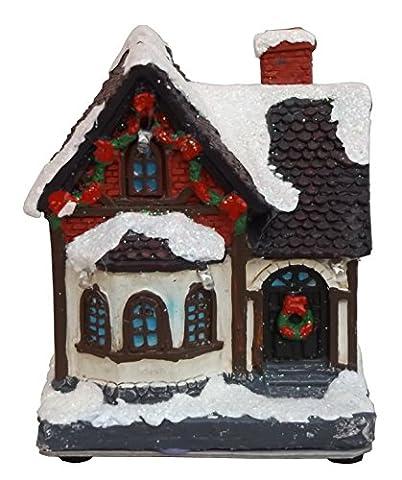 Lichthaus LED beleuchtet Leuchthaus Weihnachts Winter Deko Haus Dorf Kirche