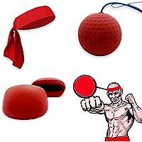 Fight Ball Reflex, Ancees Pelota Reflejo de Boxeo Ball Bola de Reacción Entrenamiento de Velocidad para el Boxeo, MMA y Otros Deportes (Rojo)
