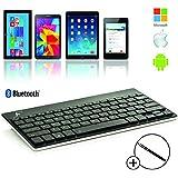 Forefront Cases® Nuevo Teclado Bluetooth Inalámbrico con Compatibilidad Universal - Apple iPad Air, Mini, Mini Retina, iPad 2, iPad 3, Samsung Galaxy Tab 3 7.0, Tab 3 8.0, Tab 3 10.1, Tab 4 7.0, Tab 4 8.0, Tab 4 10.1, Tab PRO 8.4, Tab PRO 10.1, Google Nexus 7 – Diseño QWERTY y Batería Recargable Integrada + Lápiz óptico