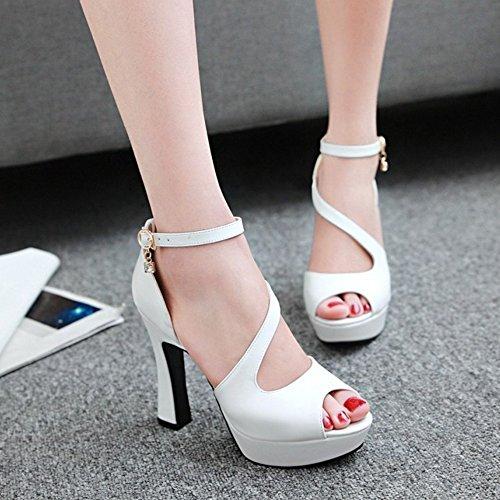 COOLCEPT Damen Mode Knochelriemchen Sandalen Peep Toe Plateau Blockabsatz Schuhe White