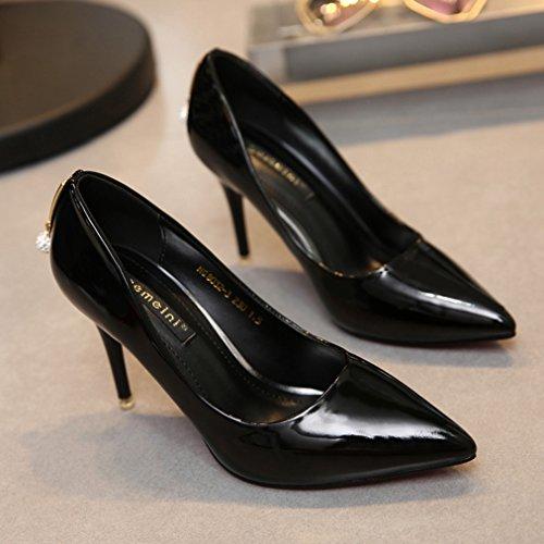 Damen Pumps Slip On Spitz Zehen Niedrige High Heels Stilettos Arbeitsschuhe Einfache Anti-Rutsche Lässig Schuhe Schwarz