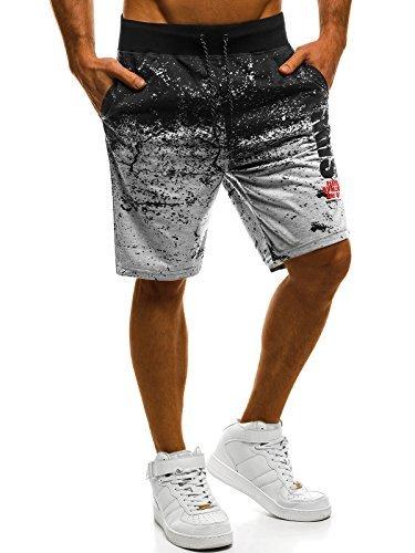 OZONEE Herren Jogg Freizeitshorts Sportshorts Knielang Kurze Hose Shorts Bermudas JS/KK211 GRAU M