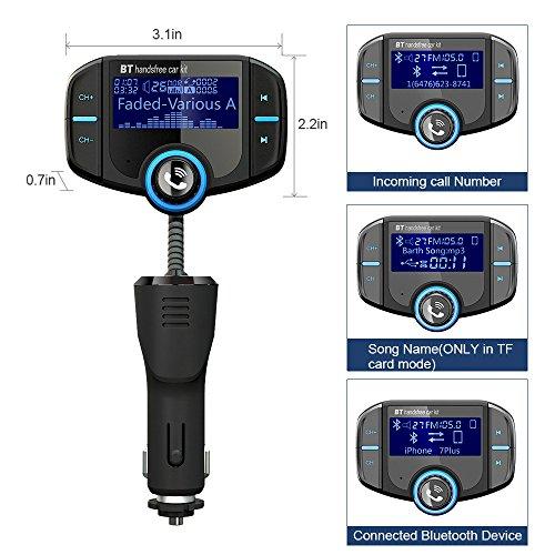 Adaptador de Coche GRDE V4.2 Manos Libres Bluetooth Transmisor FM Coche Función incorporada de A2DP con Dual USB QC3.0 USB y 2.4A Adaptador de Radio Apoyo iphone ipad tablet andriod TF Tarjeta