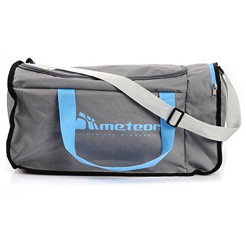 METEOR Moderne Sporttasche für Fitness Gym Urlaub 40L Reisetasche Urlaubstasche Fitnesstasche Riementasche Bag Sport WIDAR Grau/Blau