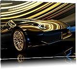 schwarzer Lamborghini Bild auf Leinwand, XXL riesige Bilder fertig gerahmt mit Keilrahmen, Kunstdruck auf Wandbild mit Rahmen, guenstiger als Gemaelde oder Bild, kein Poster oder Plakat, Format:100x70 cm