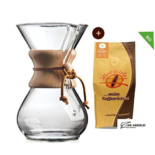 Set Chemex Kaffeekaraffe für bis zu 6 Tassen (850 ml) mit 250 g Filterkaffee, Mondo del Caffè...