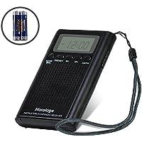 Récepteur radio numérique Pocket avec réveil numérique au design moderne, radio FM MW Haut-parleur à large bande, idéal pour la maison ou en voyage