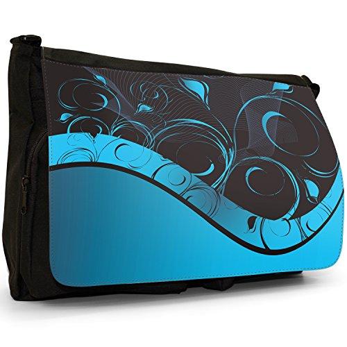 Fancy A Bag Borsa Messenger nero Floral Grunge Elegant Blue Swirl