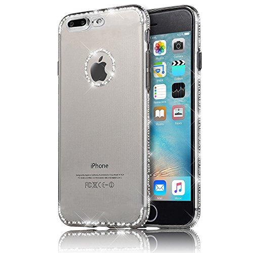 "Sunroyal iPhone 7 Plus (5.5"") 0.3mm Hülle Gold TPU Case Handyhülle Schutzhülle Silikon Rückseite Klar Clear Case Durchsichtig Bumper Zurück Bling Crystal Kirstall Diamant Strass Rhinestone Frame Rahme Grau"