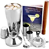 Manhattan Cocktail Set | Cocktail Shaker Set and Home Cocktail Making Kit with Recipe Book, 750ml Shaker, Strainer, Muddler, Twisted Mixing Spoon, 25ml & 50ml Thimble Bar Measures