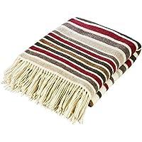 Giwi Style 100% Lana de Merino Blanket Bed–Manta oveja Manta de lana merino lana de alcance, Red/Brown Stripe, 130 x 180