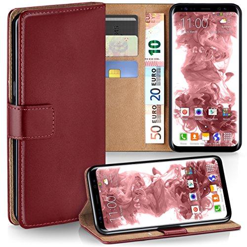 moex Samsung Galaxy S8 | Hülle Dunkel-Rot mit Karten-Fach 360° Book Klapp-Hülle Handytasche Kunst-Leder Handyhülle für Samsung Galaxy S8 Case Flip Cover Schutzhülle Tasche